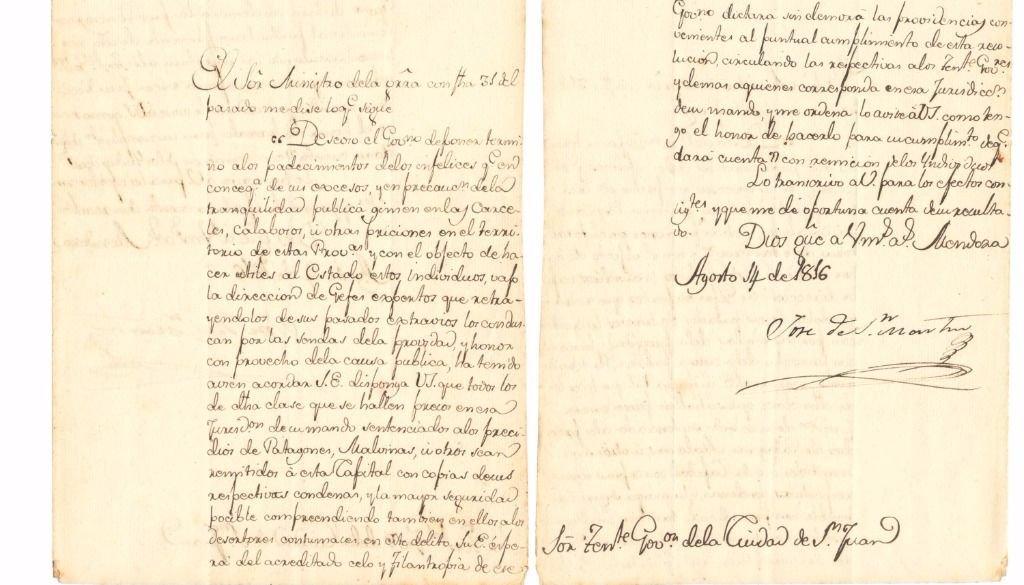 En 1816, San Martín mencionó a Malvinas como parte del territorio argentino